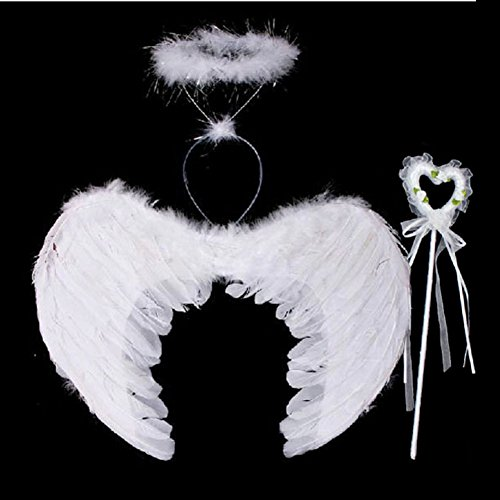 MiyaSudy 3Pcs Fairy Wings for Adult Kids Feather White Angel Fancy Accessories Dress Gothic]()