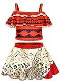 AmzBarley Two-Piece Moana Swimming Costume Swimsuit Swimwear for Kids Girls Moana Tankini Top with Skirt Set 120/6