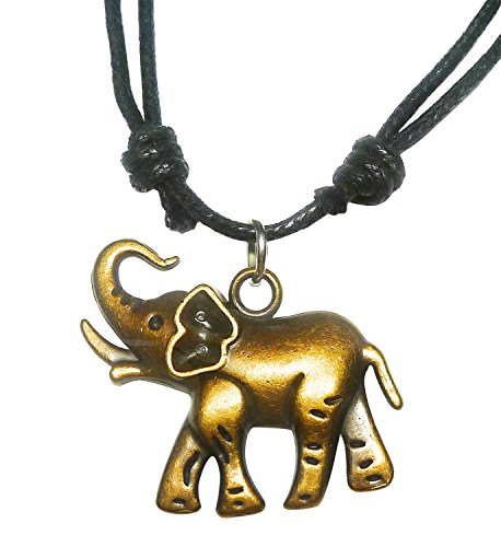 Diy Dark Angel Halloween Costumes (BDJ Antique Bronze Elephant Charm Pendant Adjustable Cord Necklace)