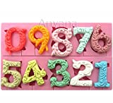 Anyana Alphabet Number 0-9 3d Silicone Mold with Lollipop Hole Fondant Cake Decorating tools cupcake topper Candy chocolate sugarcraft birthday party