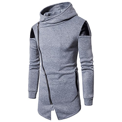 QBQCBB Fashion Men's Stand Collar Coat Long Sleeve Button Solid Pullover Sweatshirt (Gray,2XL)