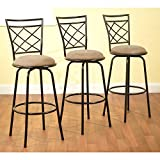 Bar Stools Set of 3 Cross-back Design 3-Piece Avery Ajustable Height Barstool, Multiple Colors (Black)