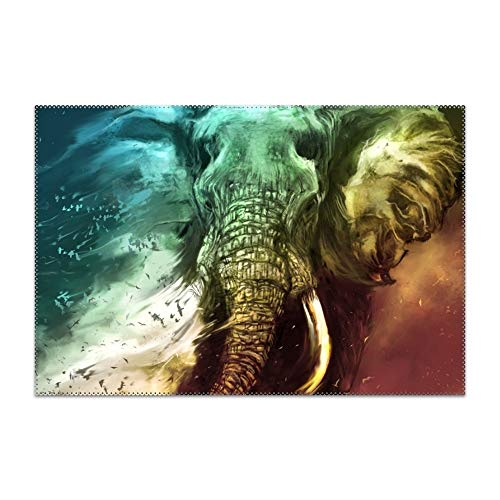YLJH Placemats for Dining Table Dont Fade Away Elephant Durable Kitchen Table Mats Washable Heat Resistant Stain-Resistant Non Slip Placemat ()