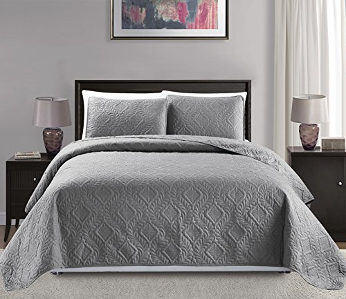 Mk Collection 3pc King/California King Over Size Diamond Bedspread Bed Cover Embossed Solid Gray New