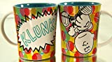 Peanuts Charlie Brown Klunk! 14 Oz Multicolor Teal Interior Ceramic Coffee or Cocoa Mug 2 Pack