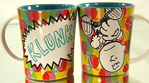 Peanuts Charlie Brown Klunk! 14 Oz Multicolor Teal Interior Ceramic Coffee or Cocoa Mug 2 Pack by Peanuts