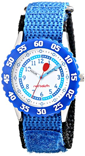 "Red Balloon Kids' W000181""Time Teacher"" Stainless Steel Watch With Blue Nylon Band"