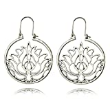 Dwcly Silver Plated Hollow Out Lotus Flower Drop Earring Charm Circle Hoop Earring