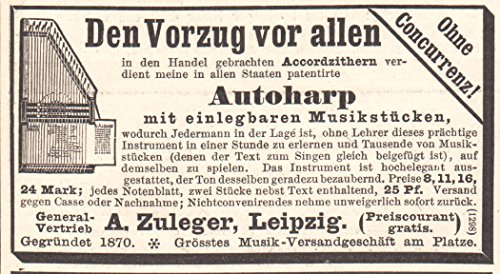 1892 Print Ad Accord Zither Auto Harp A. Zuleger Leipzig Musical Instrument