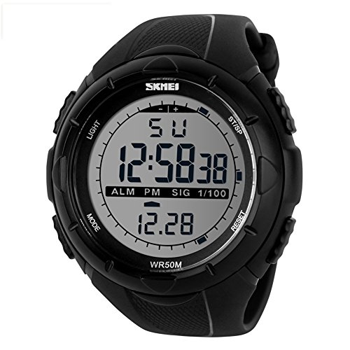 SKMEI Men's Military Black LCD Digital Sport Watch - 7