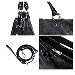 Kattee Women\'s Soft Genuine Leather 3-Way Satchel Tote Handbag Black