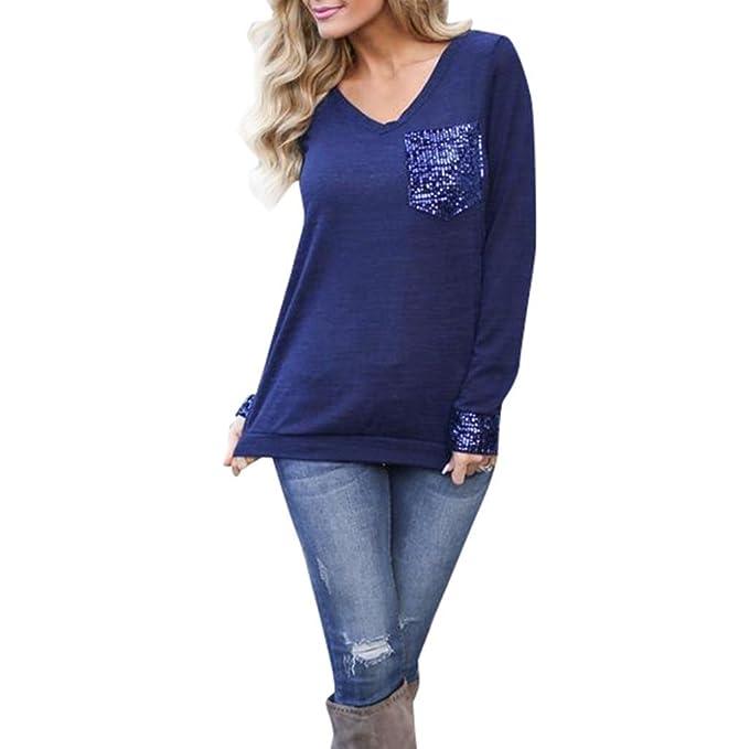 Yannerr mujer primavera bolsillos lentejuelas Empalme geométrico casual manga larga básica inferior camiseta tops suéter chaqueta