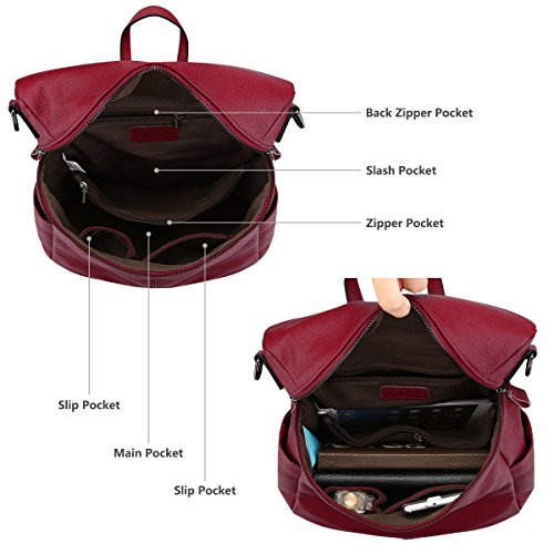 S Red Medium Casual Women Wine Backpack ZONE Bag Purse Shoulder Genuine Leather OaqOPw