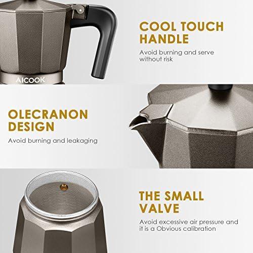 Amazon.com: AICOOK Moka Pot, Espresso Maker, Cafetera para ...