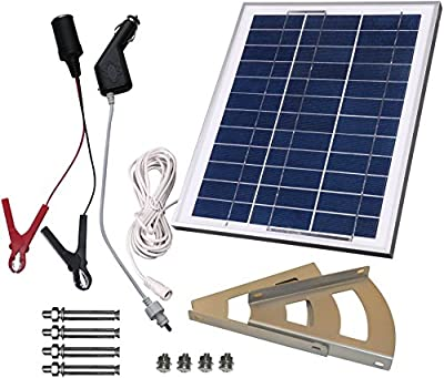 MicroSolar - 10W Solar Panel Charging Kit for 12v Battery /// Plug & Play /// Solar Charge Contoller Included - Braket Included - 18 Feet Waterproof Wire - Optional 16.4 Feet Extension Wire - Cigarette Plug with Fuse - Alligator Clips with Fuse ----- Car