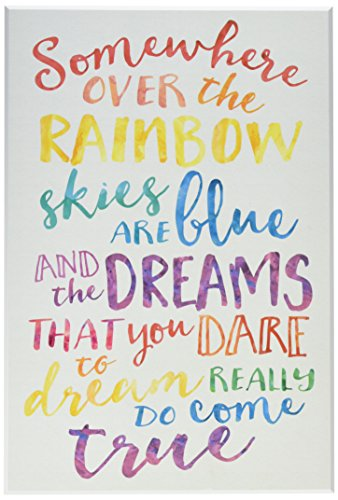 Stupell Home Décor Somewhere Over the Rainbow Watercolors Wall Plaque Art, 10 x 0.5 x 15, Proudly Made in USA ()