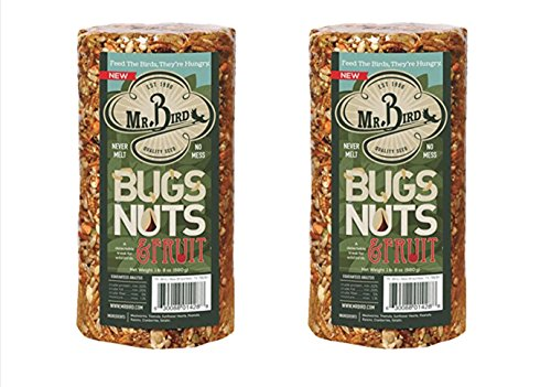 2-Pack of Mr. Bird's Bugs, Nuts, Fruit Small Wild Bird Seed Cylinder 24 oz.