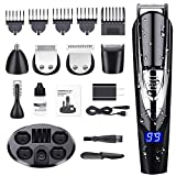 Beard Trimmer for Men, ALLFU Cordless Mustache Trimmer Waterproof Hair Trimmer Clippers Body groomer Trimmer 10 in 1 Electric Grooming Kit for Nose Ear Facial Hair Precision Trimmer USB Rechargeable