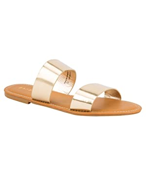 BAMBOO Double Strap Womens Sandals, Gold, 7.5