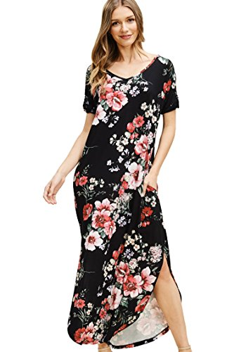 Annabelle Women's Low Back V-Neck Floor Length Twisted Short Sleeves Loose Fit Floral Knit Print Maxi Dress with Side Slanted Pockets Black Large D5476 -