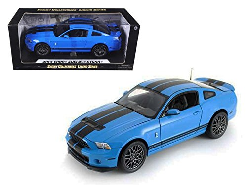 2013 Ford Shelby Mustang GT500 SVT Cobra Grabber Blue with Black Stripes 1/18 by Shelby Collectibles 390bl