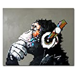 Muzagroo Art Monkey Listening to Music Oil Paintings Hand Painted Huge Wall Art for Living Room Stretched Ready to Hang XL