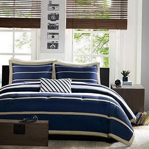 (Kaputar Modern Blue Navy Khaki Sporty Boys Stripe Comforter Set Shams Pillow   Model CMFRTRSTS - 752   Twin Twin Extra Long XL Duvet)