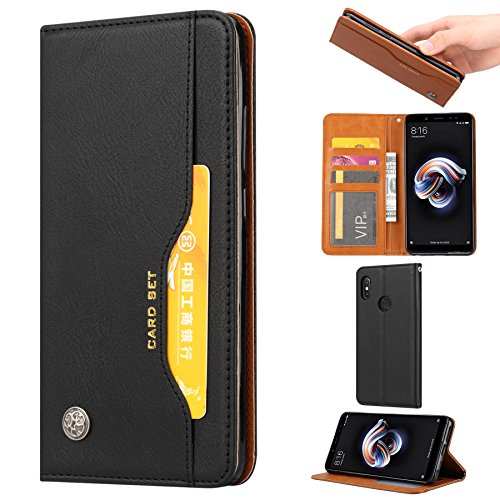 Xiaomi Mi Max 3 Case, Xiaomi Mi Max 3 Wallet Case, Futanwei Leather Flip Folio Full Body Shockproof Non-Slip Protective Case with Card Slots/Kickstand for Xiaomi Mi Max 3 Phone,Black