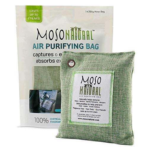 Moso Natural Air Purifying Bag. Bamboo Charcoal Air Freshener, Deodorizer, Odor Eliminator, Odor Absorber For Cars and Closets. 200g Green Color