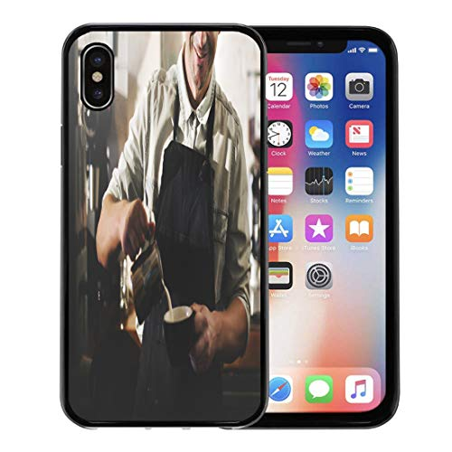 Emvency Phone Case for Apple iPhone Xs Case/iPhone X Case,Bar Apron Barista Cafe Making Coffee Preparation Service Cafeteria Soft Rubber Border Decorative, Black