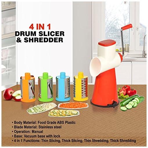 Kitchen Bazaar 4 In 1 Drum Grater Shredder Slicer
