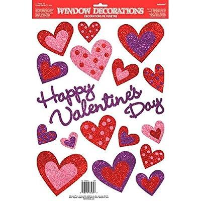 "Amscan 440804 Glitter Heart Vinyl Window Decoration, 18"" x 12"", Multicolor: Kitchen & Dining"