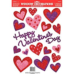 "Amscan Blushing Valentine's Day Glitter Heart Window Party Decoration, Multicolor, 18"" x 12"""