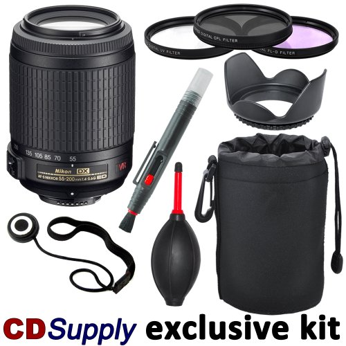 Nikon 55-200mm f/4-5.6G ED IF AF-S DX VR [Vibration Reduction] Nikkor Telephoto Zoom Lens Import for Nikon Digital SLR Cameras, includes; 9pc CD Supply Accessory Kit