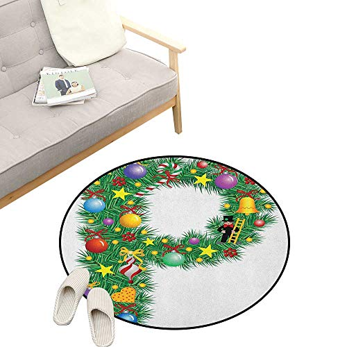 Letter P Round Rug ,Letter P with Seasonal Holiday Theme Presents Candy Celebration Expressing Image, Art Deco Non-Slip Backing Machine Washable 39