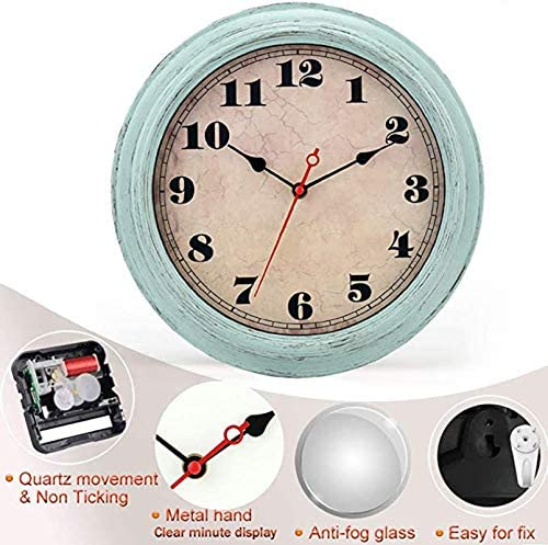 Battery Operated for Livingroom Bedroom,Vintage Green Clock 12inch,Wall Clock,Quiet Non Ticking Retro Wall Clock -