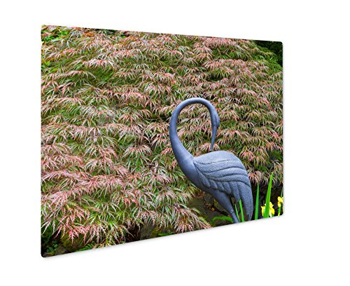 Ashley Giclee Metal Panel Print, Bronze Crane Statue Sculpture By Red Japanese Maple Tree In Home Garden, 8x10, AG6503746 Iris Garden Statue