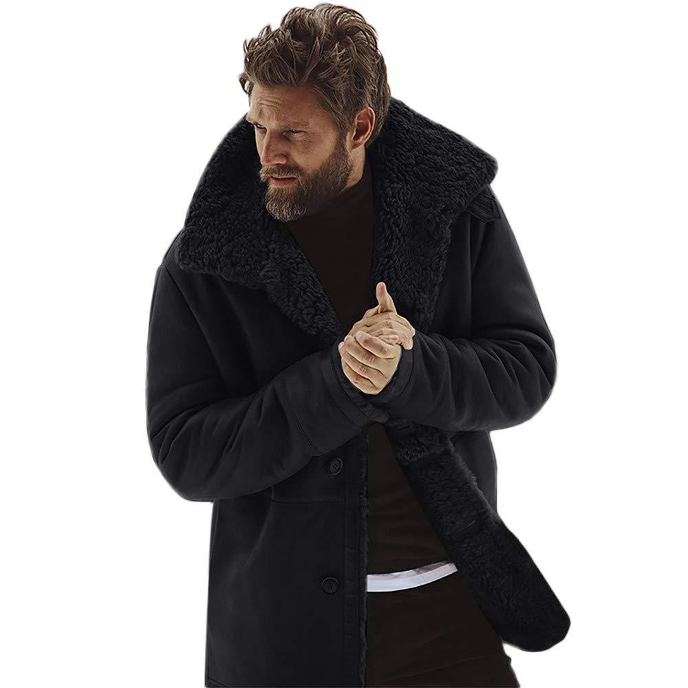 Funnygals - Winter Men's Coat Sheepskin Jackets Fleece Lined Thick Warm Woolen Overcoat Cashmere Shearling Coat Jacket Black by Funnygals - Clothing