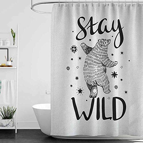Shower Curtains Blue Flowers Bear,Dancing Bear in Hand Drawn Style with Cute Little Stars Stay Wild Inspirational Quote, Black White W48 x L72,Shower Curtain for - Flowers Dancing Bear