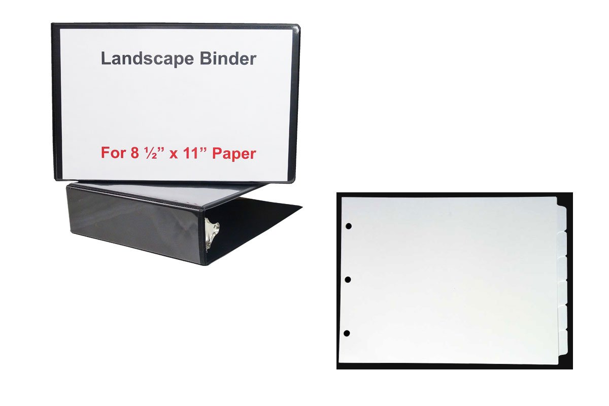 2'' Black Heavy Duty Landscape Binder with - 1 Set of 6 Blank tabs - Both for 8 1/2'' x 11'' Standard Size Paper- Tabs are Printable