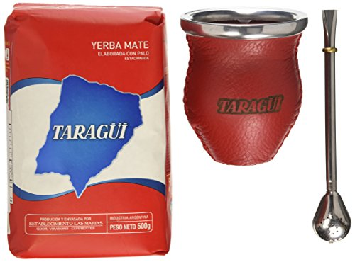 Taragui Yerba Mate + Bombilla + Glass & Leather Gourd (Gourd Yerba Mate Tea)