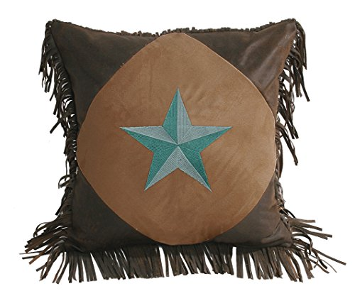 HiEnd Accents Western Star Pillow, 18 by 18-Inch, Turquoise