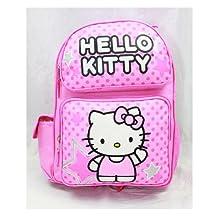 Backpack - Hello Kitty - Pink Stars & Dot Sitting (Large School Bag) New 81397-2