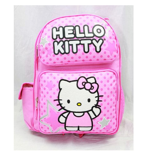 Backpack - Hello Kitty - Pink Stars & Dot Sitting (Large School Bag) New 81397-3   B007I8PK8E
