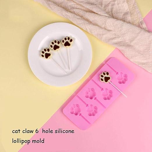 DACCU Molde Redondo de Silicona para paletas de Flores, palitos de Cocina, Bolsas para decoración de Pasteles, Herramientas 3D para Hacer Dulces de Hielo, Chocolate, moldes Cat Claw 6 Hole: Amazon.es: Hogar