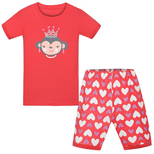 - Girls' Short Sets Cat Pajamas 100% Cotton Sleepwear 2 Piece for Toddler Pink 2-7T (6T (5-6 Years), Monkey)