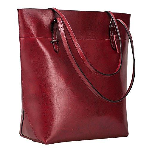 Tote Leather Vintage Bag Shoulder Large Handbag S ZONE Wine Big Genuine Capacity xqA7wSI1SR