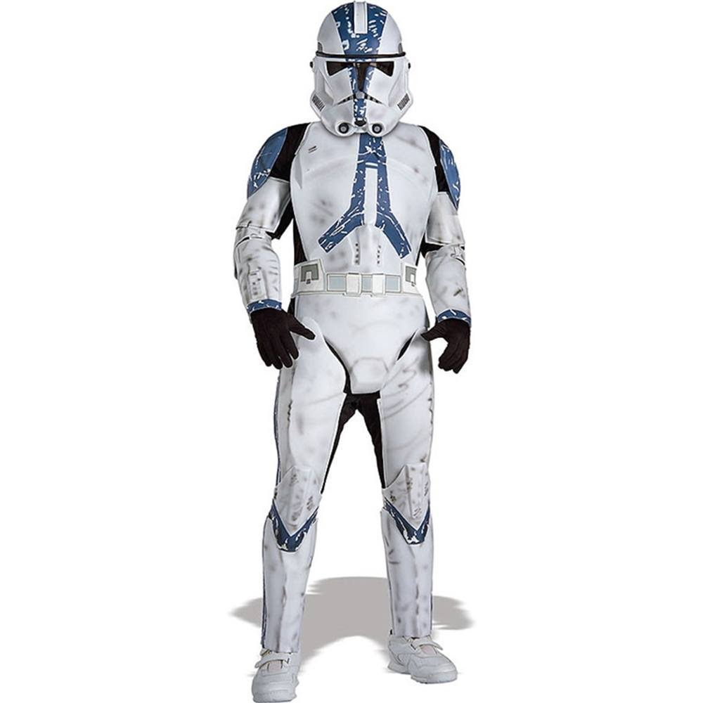 Rubies Star Wars Classic Childs Deluxe Clone Trooper Lego 75157 Captain Rexamp039s At Te Costume And Mask Large Toys Games