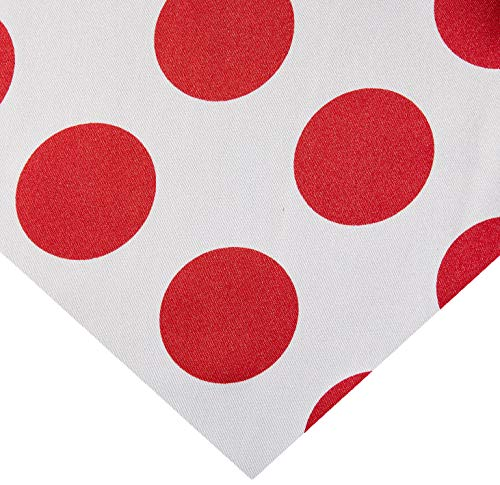 (Ben Textiles Charmeuse Satin Polka Dot White/Red Fabric by The Yard,)