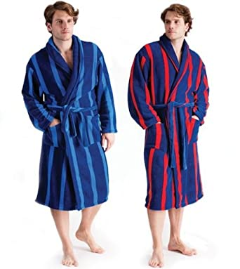 Navy w Red Striped LUXURY CORAL Fleece Mens Dressing Gown Gowns Robe ...
